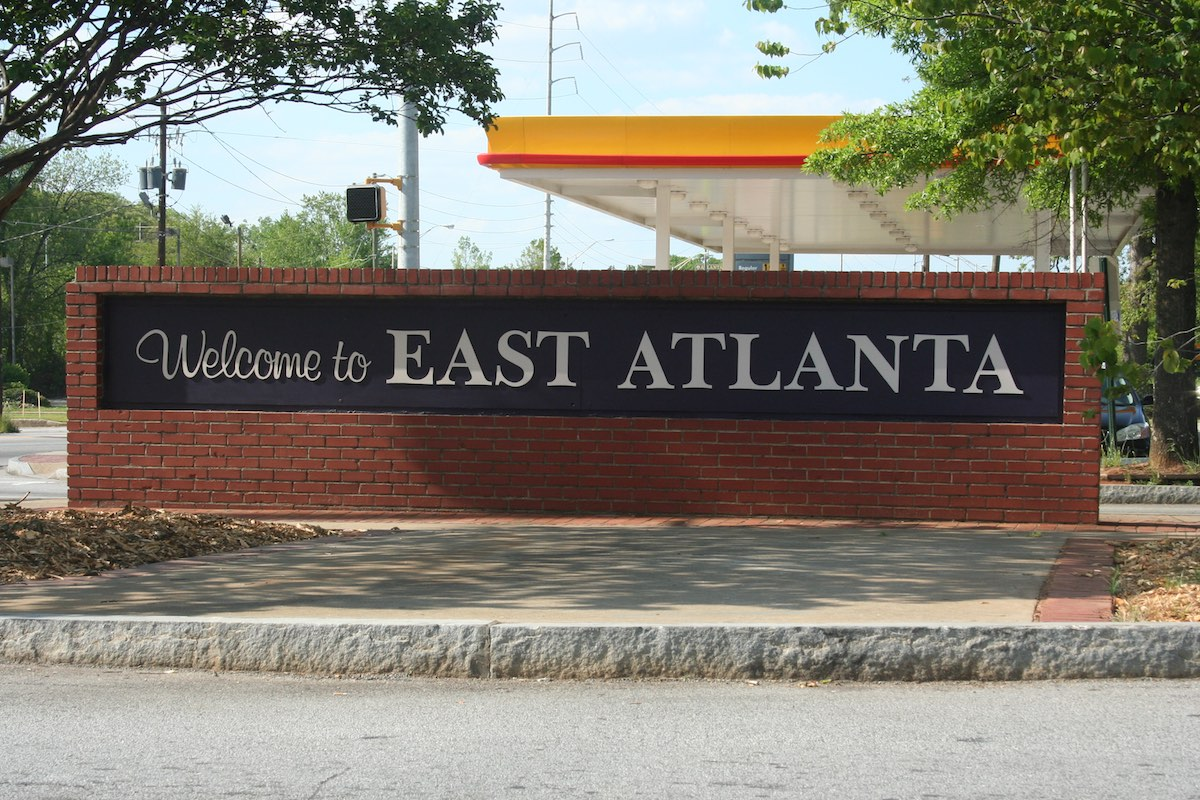 East Atlanta Village original neighborhood entrance sign.