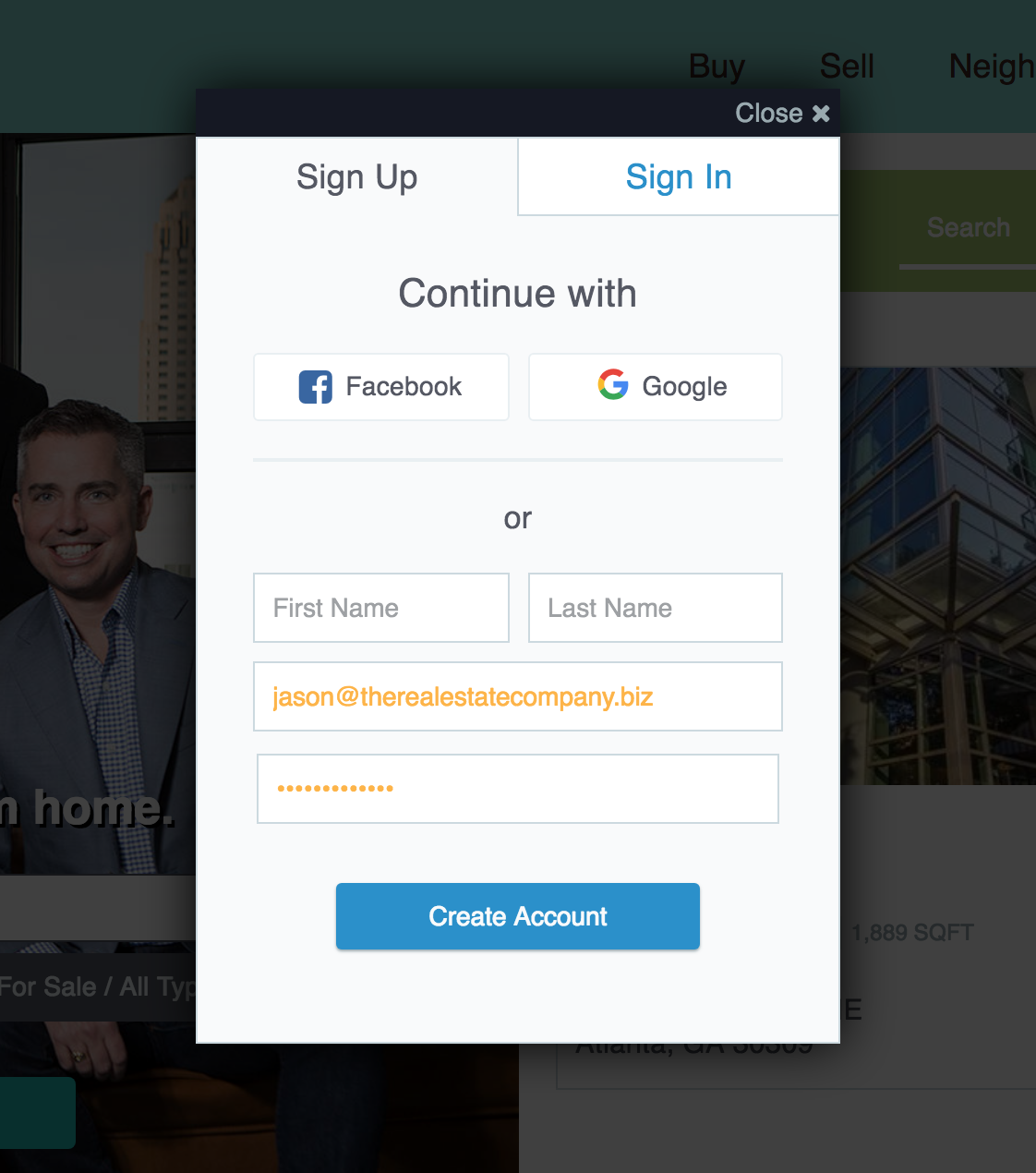Real Estate Website Improvements - IDX Social Sign-In