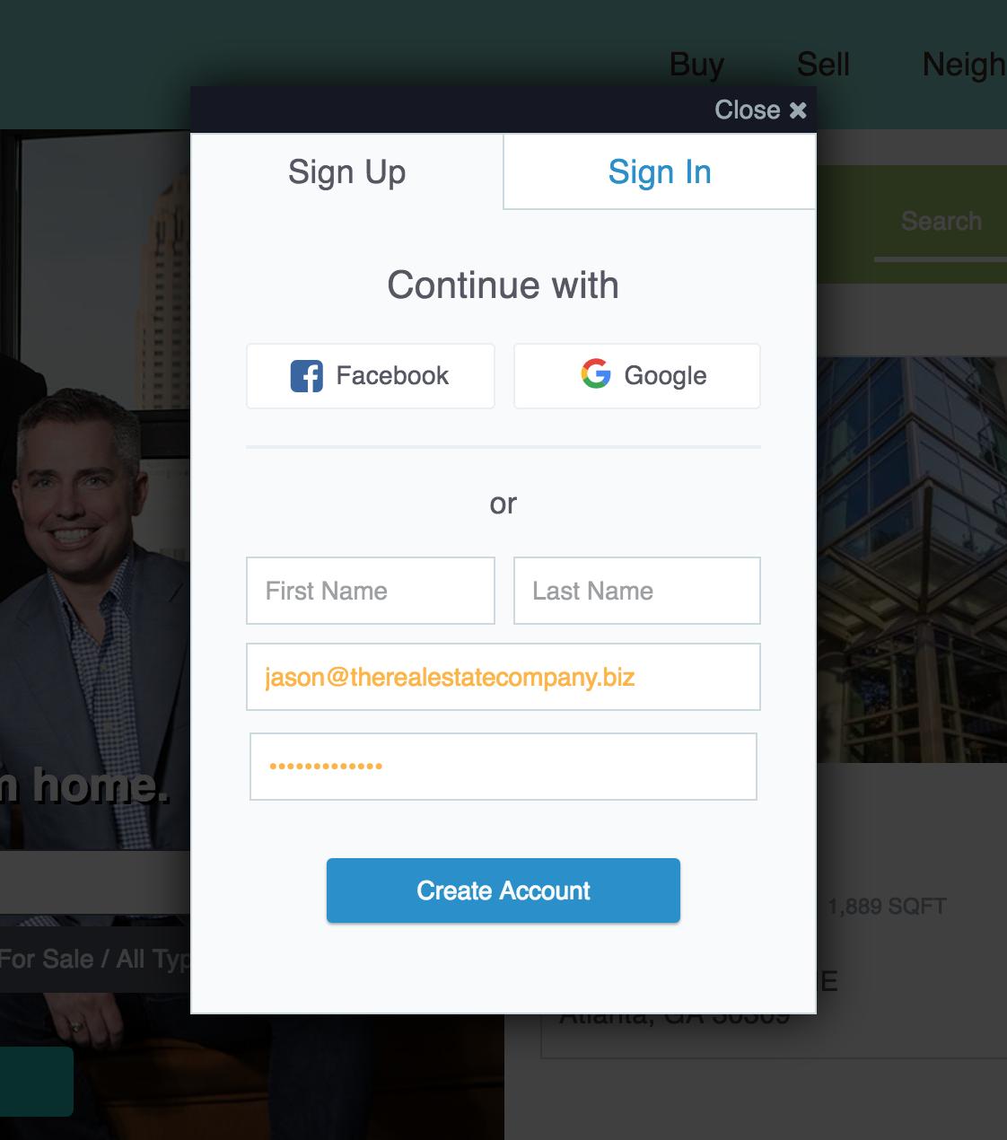 Real Estate Website Improvements - IDX Social Sign-In