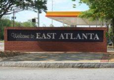 East Atlanta Village original neighborhood entrance sign.